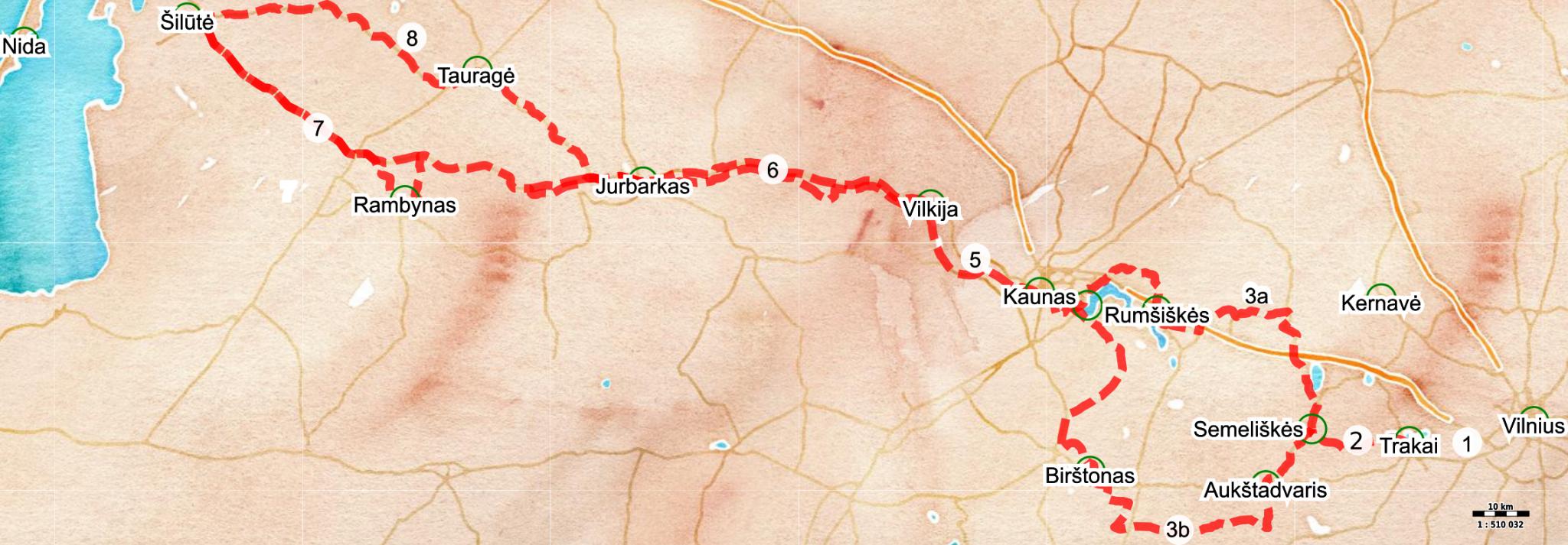 Nieman cycle trail (Overview) / Memelradweg (Überblickskarte)