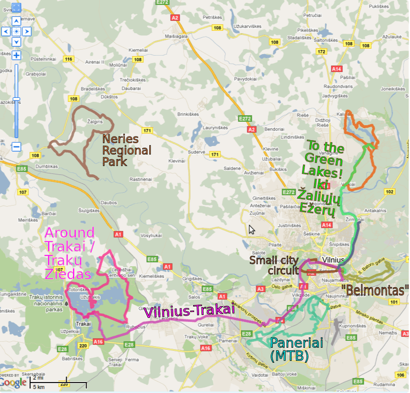 Cycling routes in Vilnius city