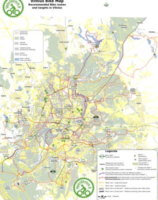 žemėlapis: Dviračiais per Vilnių