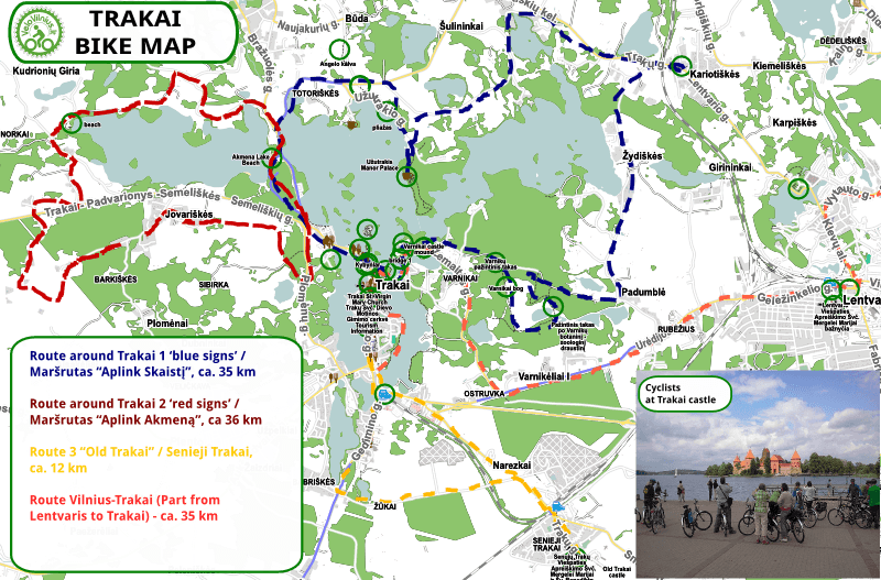 Bike routes IN Trakai