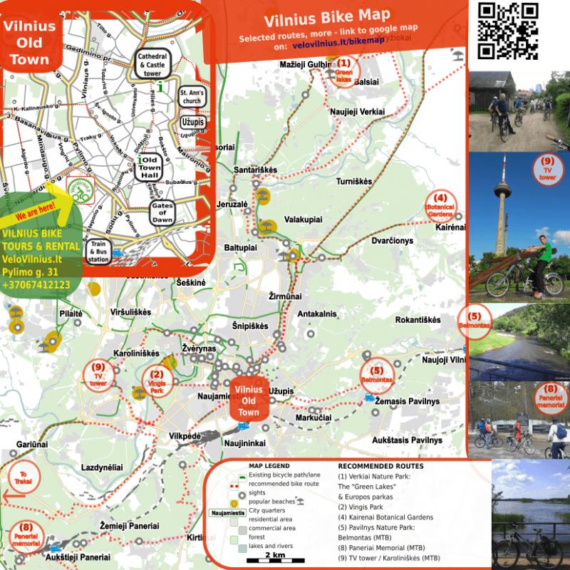Vilnius bike map (Vilnius city routes, MTB routes, Trakai ...) >>
