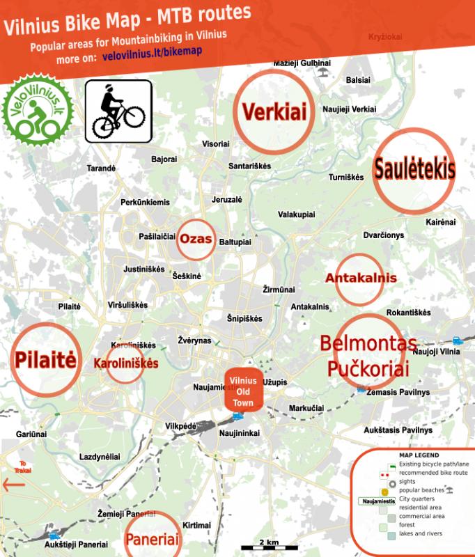 Best MTB routes in Vilnius (2020) / Kalnų dviračių maršrutai Vilniuje