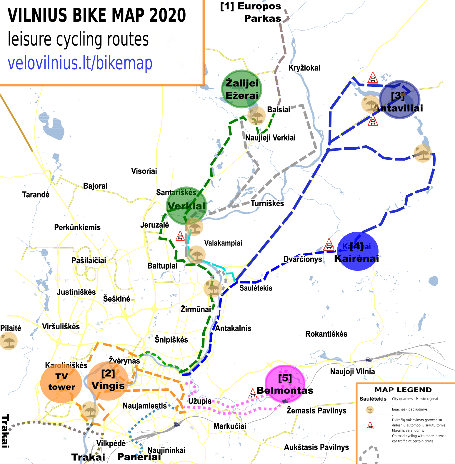 Vilnius Bike Map 2020 - overview