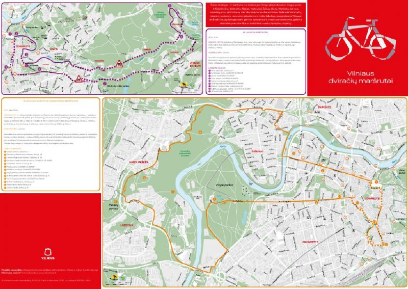 Vilnius Bicycle Route Map 2020: Easy Leisure Cycling