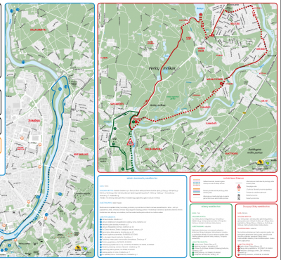 """Neris river and Verkiai nature park routes [1] To the """"Green Lakes"""" and Europe sculpture park"""